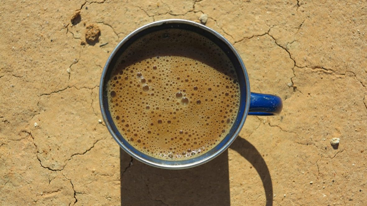 Coffee in the Simpson Desert.