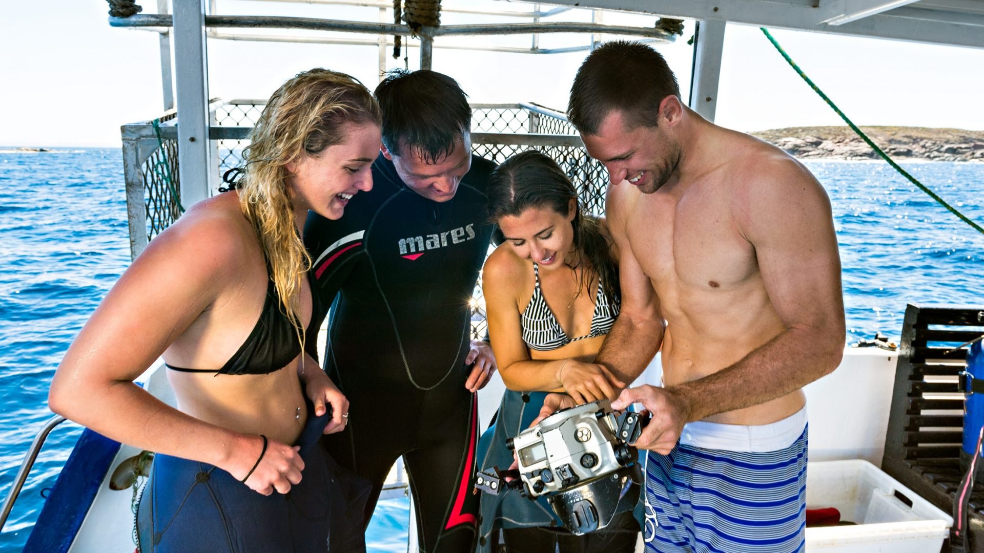 After ocean floor cage diving, guests look at some of the pictures they have taken.