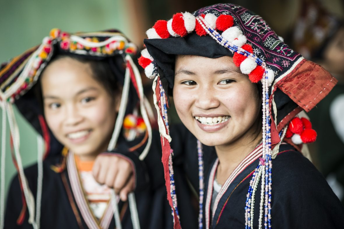 Dao girls in a village in Vietnam can be seen in traditional clothing