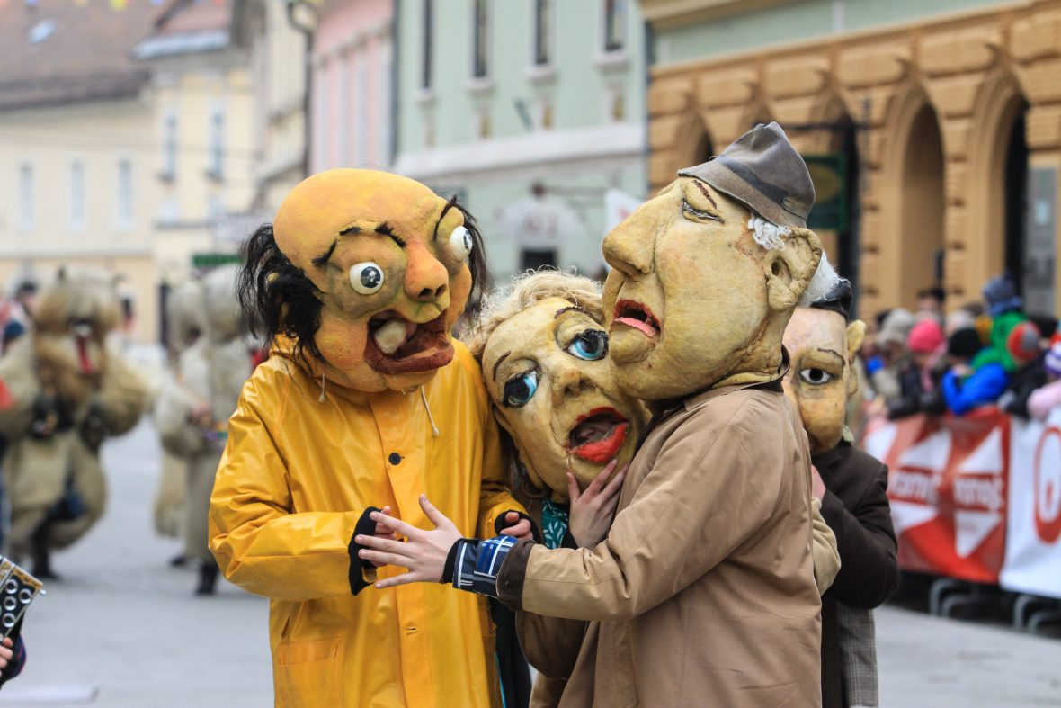 People dress as monsters for the carnival of Kurentovanje in Ptuj, Slovenia.
