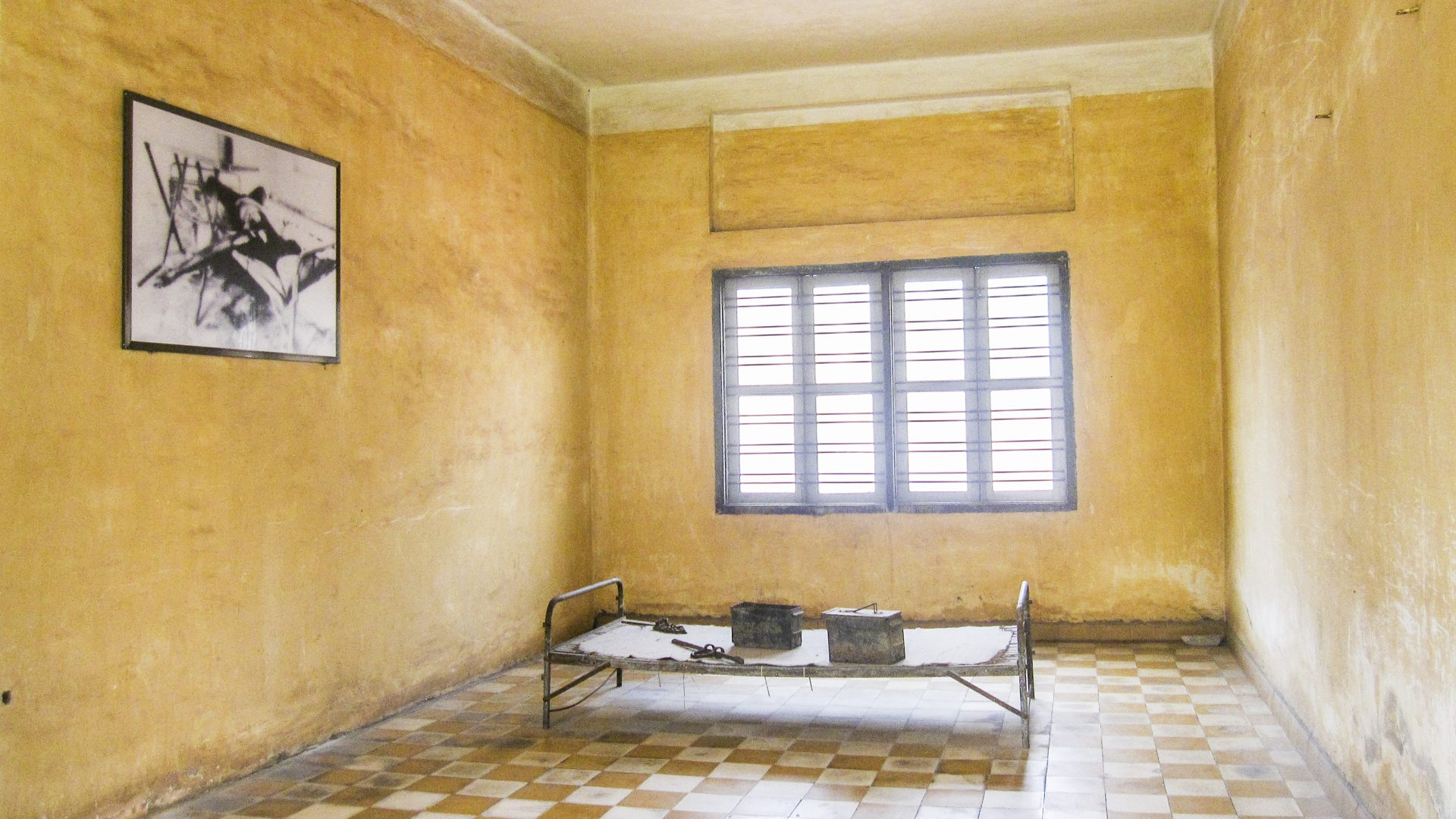 A cell at Cambodia's Tuol Sleng Genocide Museum, formerly the S-21 security prison.