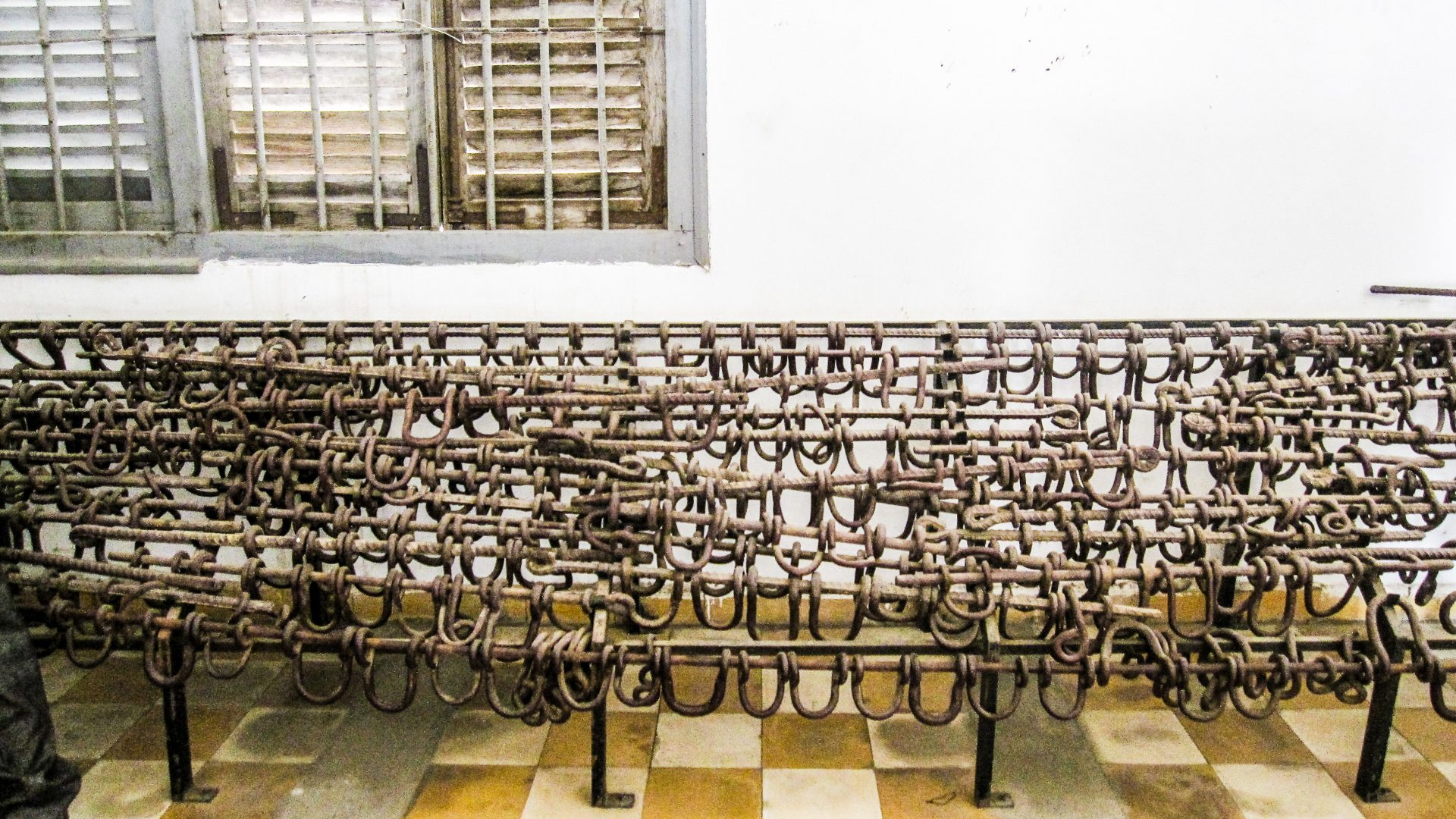 Shackles used on prisoners in Cambodia's notorious S-21 prison.