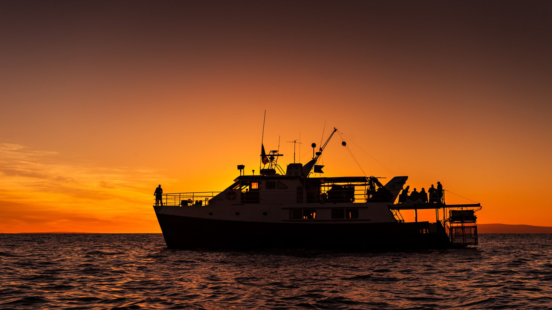Sunset at Neptune Islands aboard a cage diving boat with Rodney Fox Expeditions.