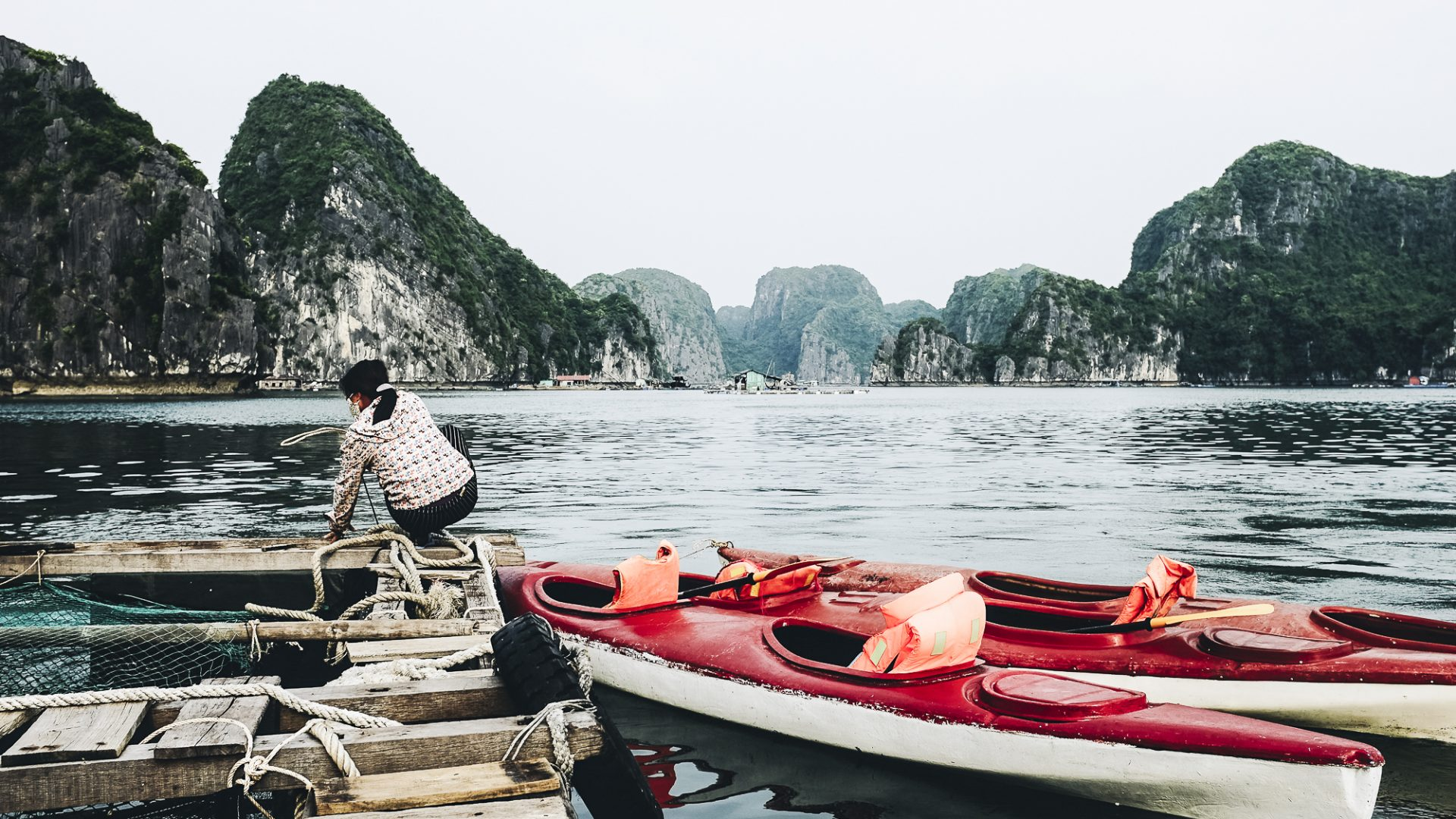 Preparing kayaks in Lan Ha Bay, Vietnam