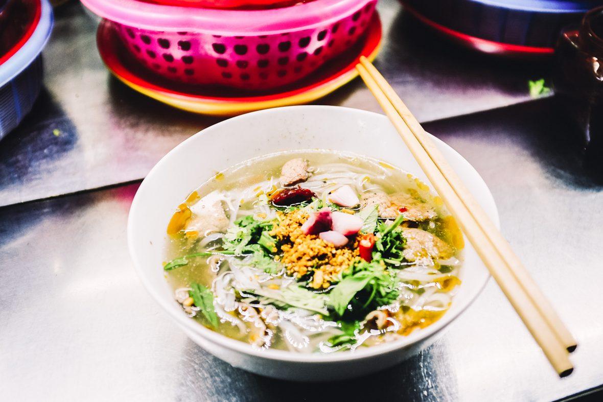 Vietnamese pho, a staple noodle soup in Vietnam.