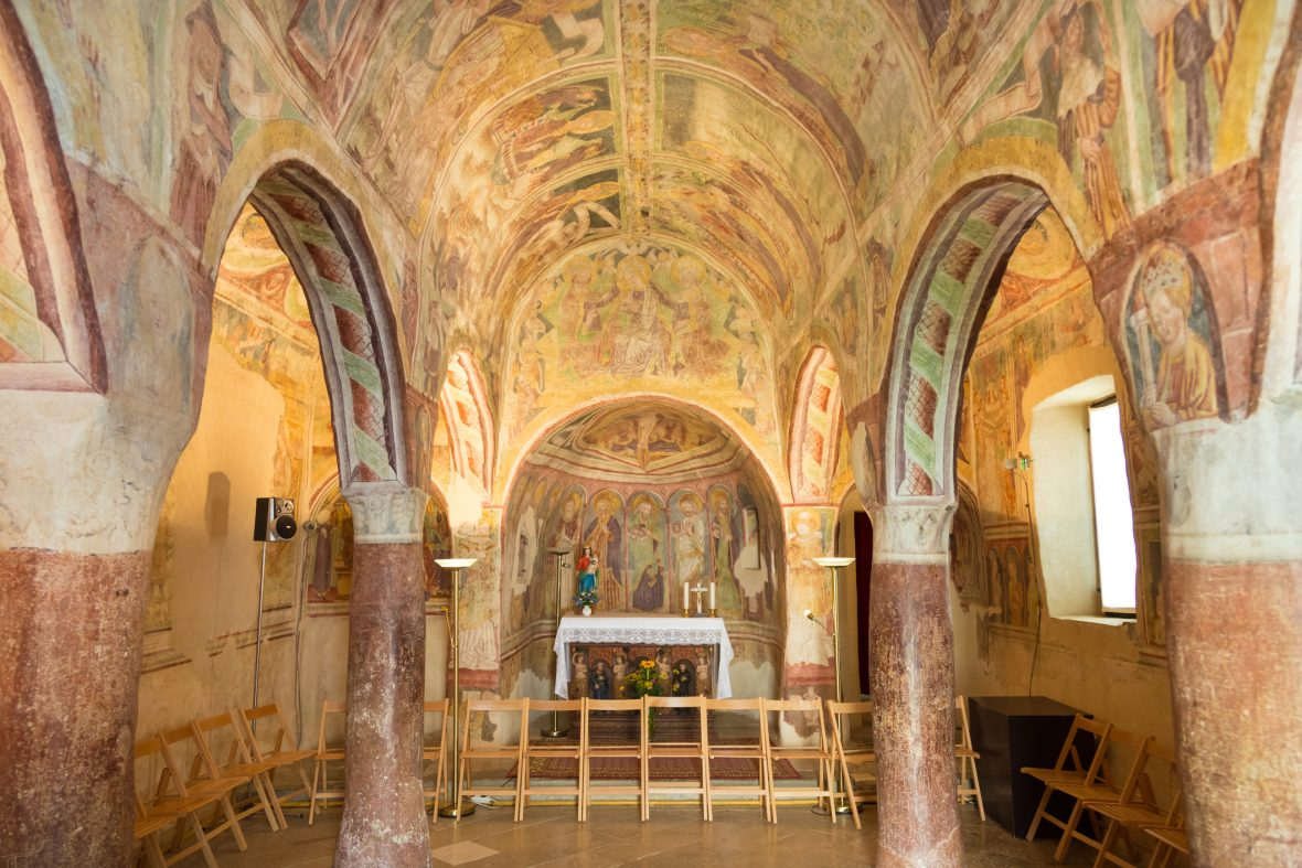Internal shot showing Church of the Holy Trinity, which contains famos late-medieval Dance of Death fresco. Slovenia, Europe.