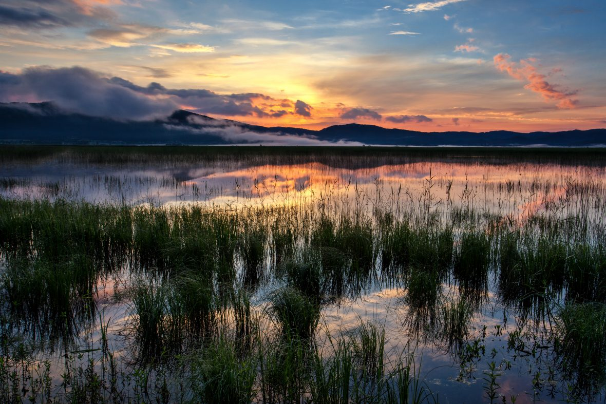 Lake Cerknica in Slovenia, when viewed with water in it at dusk.