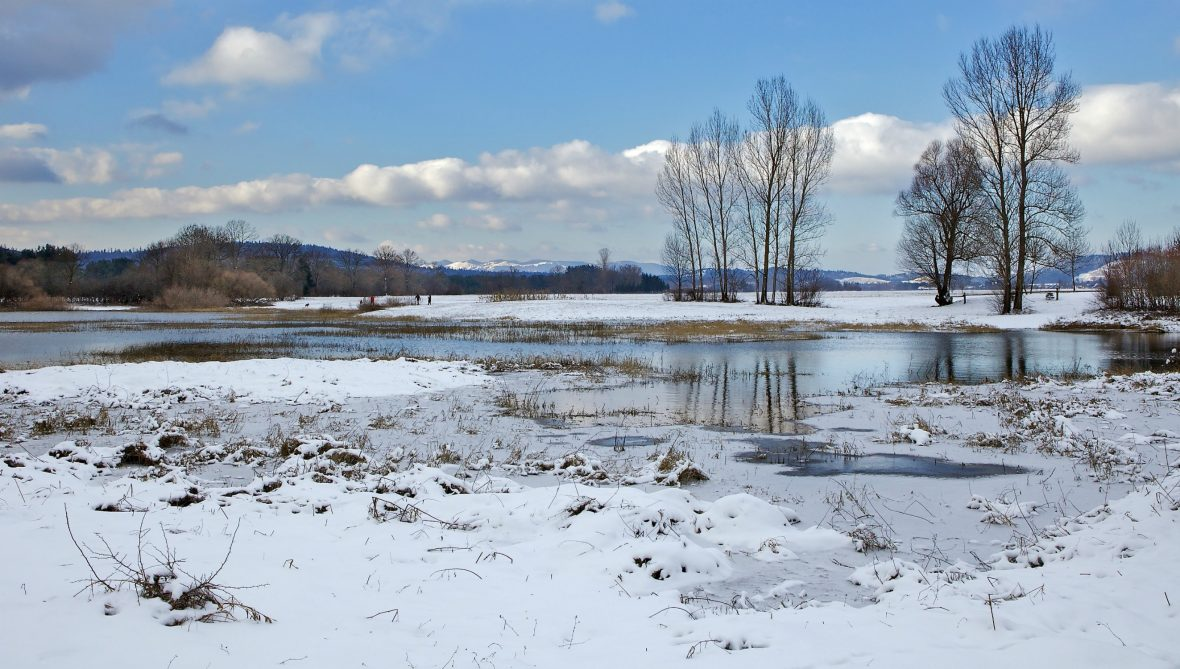 Lake Cerknica in Slovenia, when viewed with water in it and surrounded by snow.