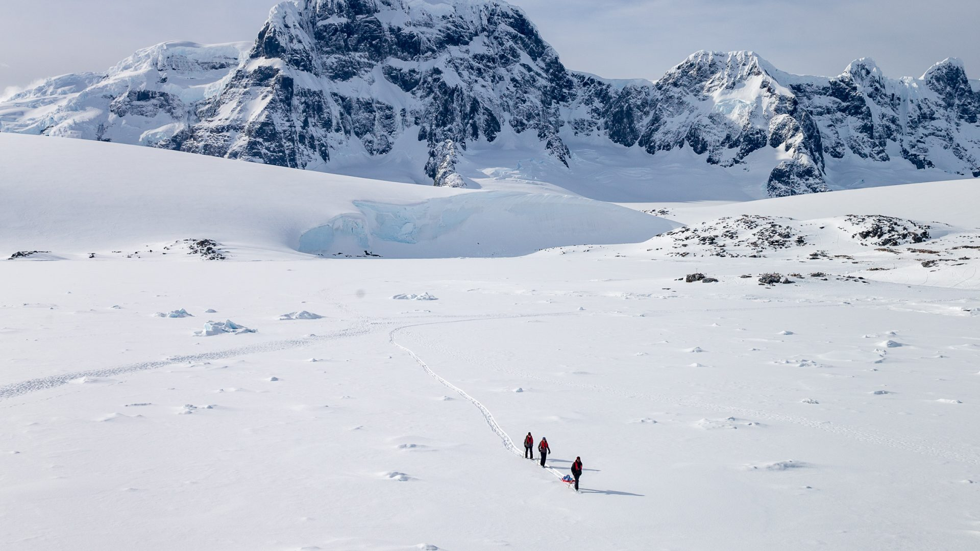 Tourists can be seen walking across the snow at Port Lockroy harbor.