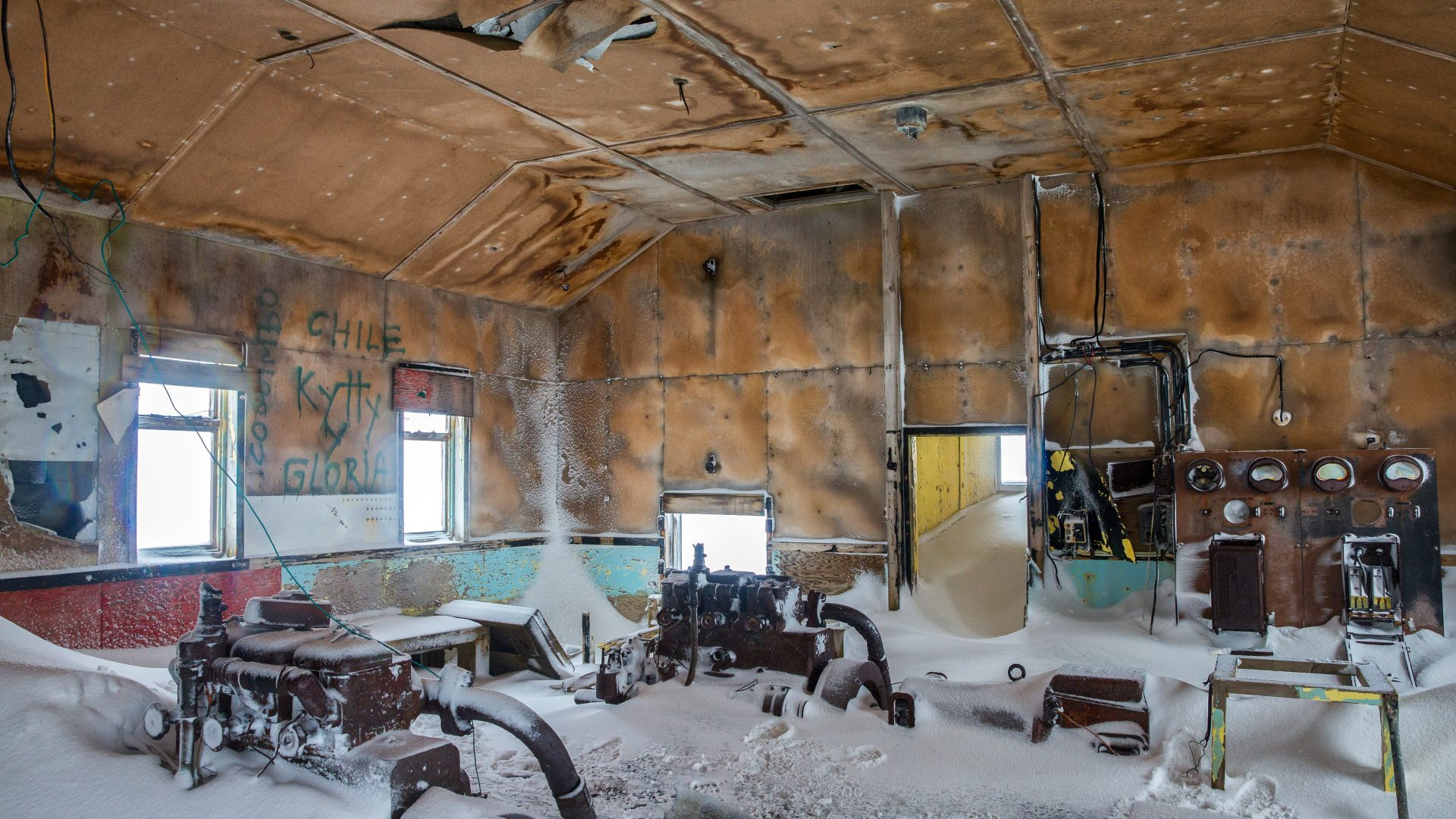 The interior of an abandoned building in Antarctica.