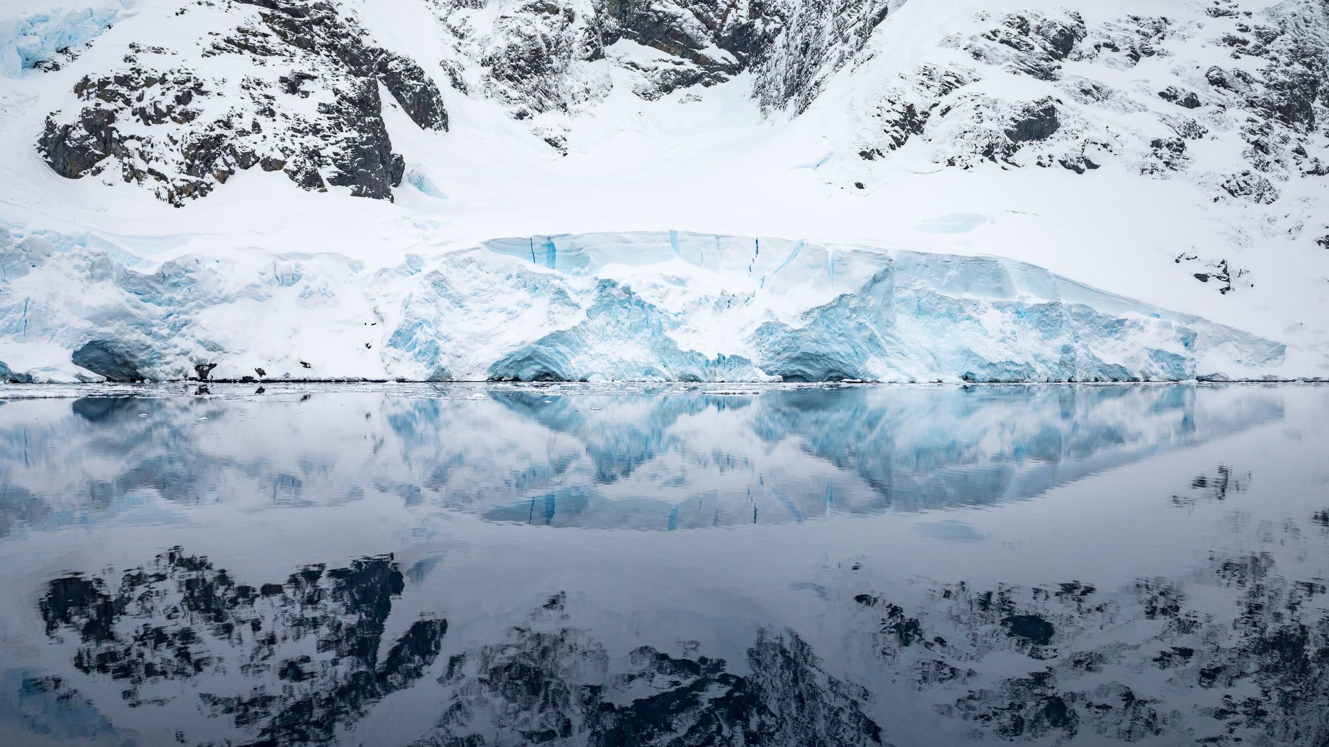 The beautiful reflections of an iceberg in the The Lemaire Channel., Antarctica.