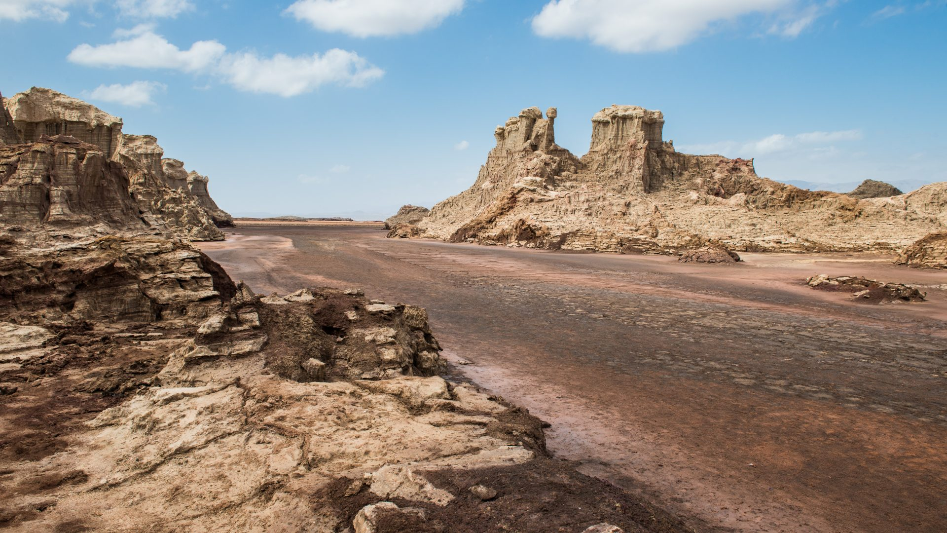 Rock formations stand out against the blue sky of the region around the Danakil Depression, Ethiopia.