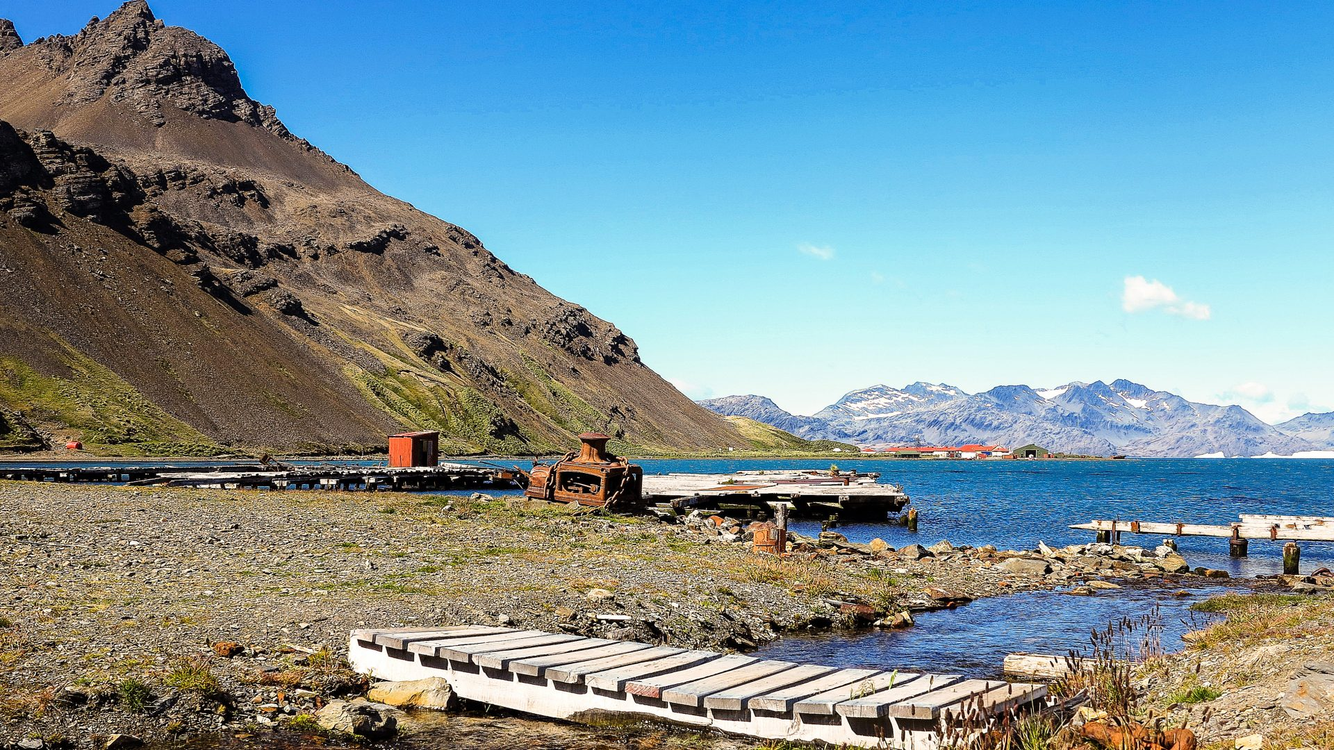 Grytviken Harbour in South Georgia Island.