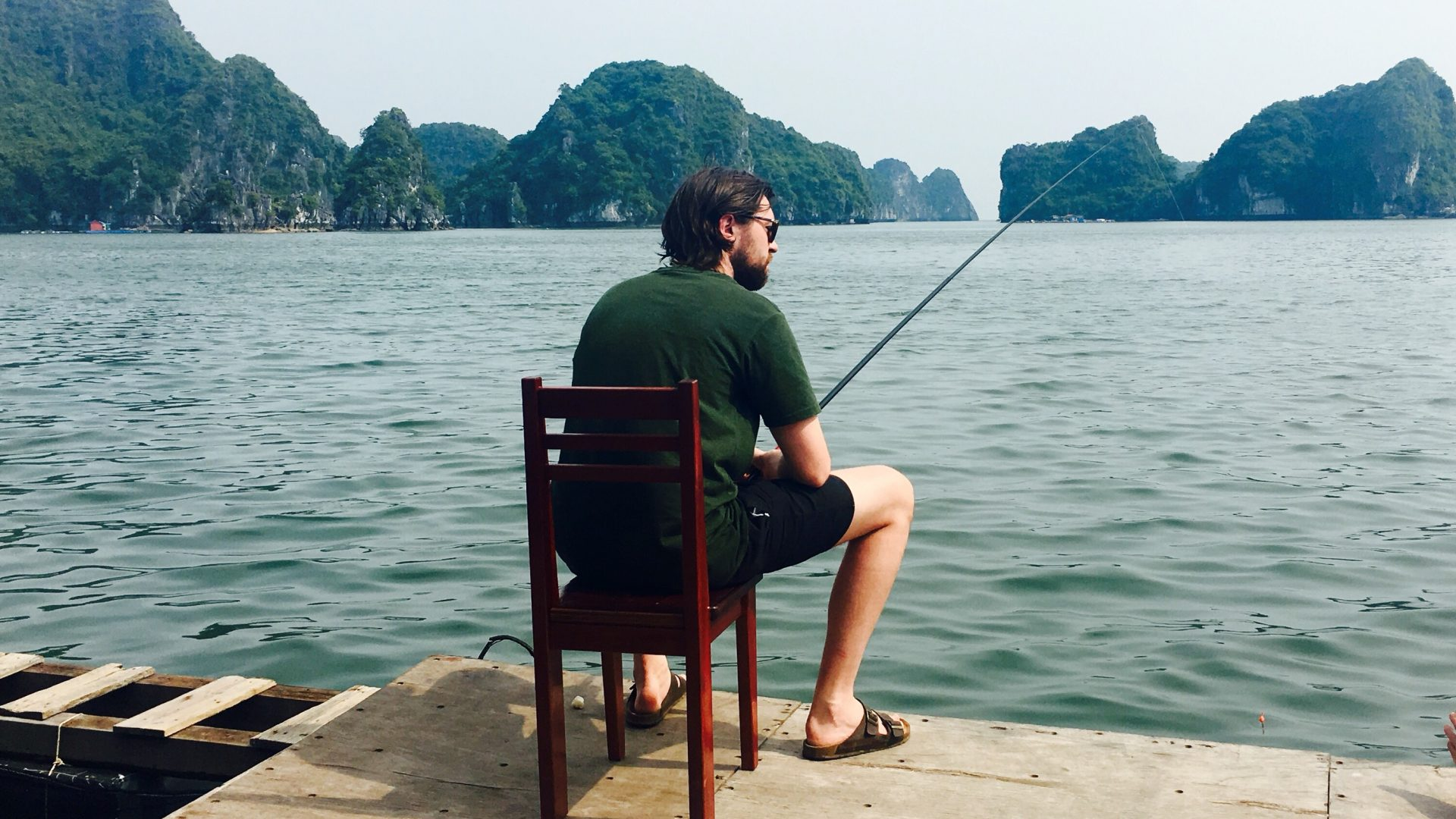 Fishing in Lan Ha Bay, Vietnam.