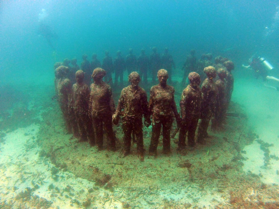One of the pieces in the underwater sculptural piece known as Vicissitudes by British artist Jason deCaires Taylor.