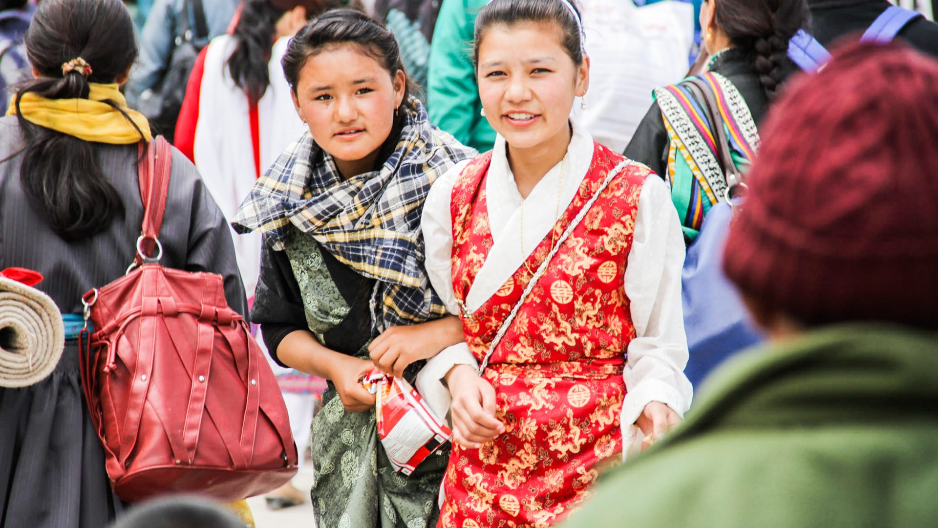 Young girls at the Buddhist festival in Ladakh in the Himalayas