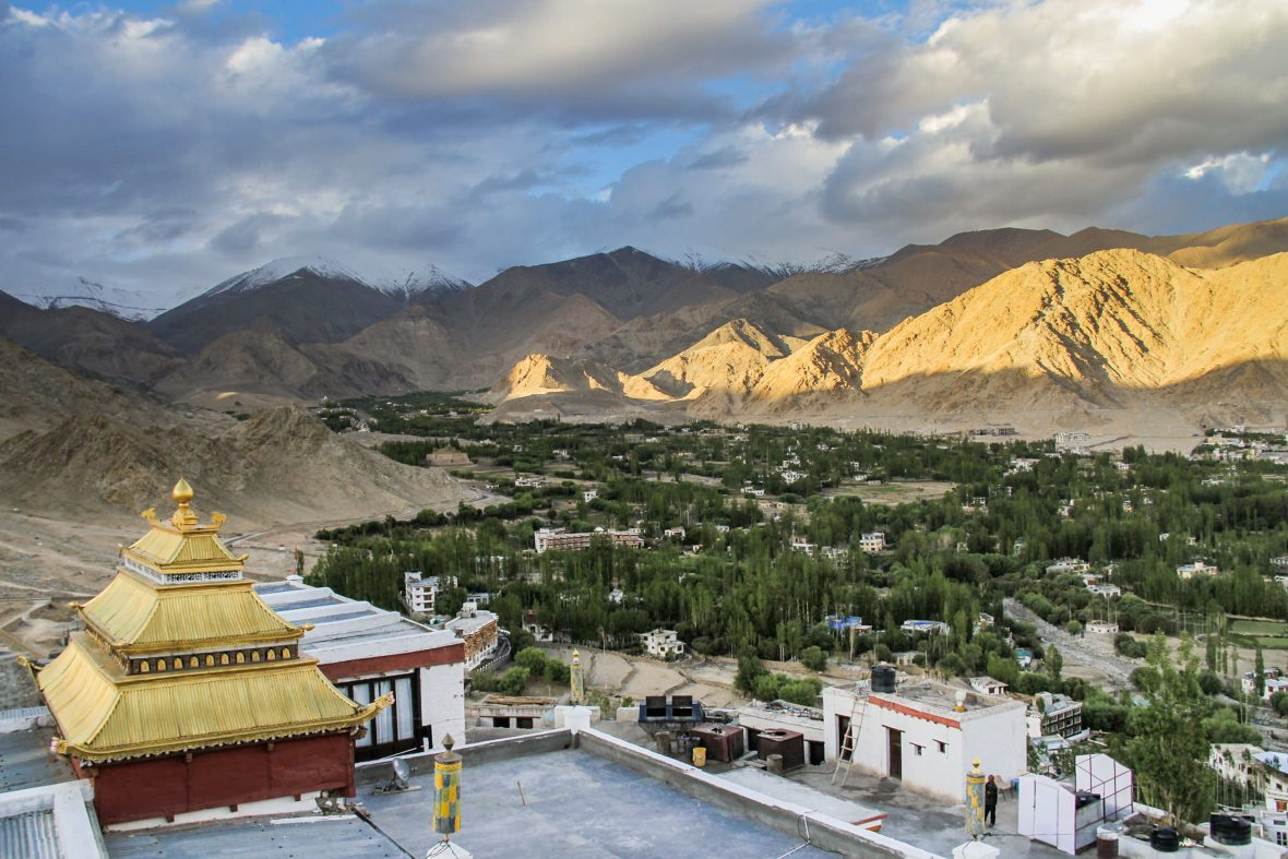 A temple looks down over the city of Leh in the Himalayas.