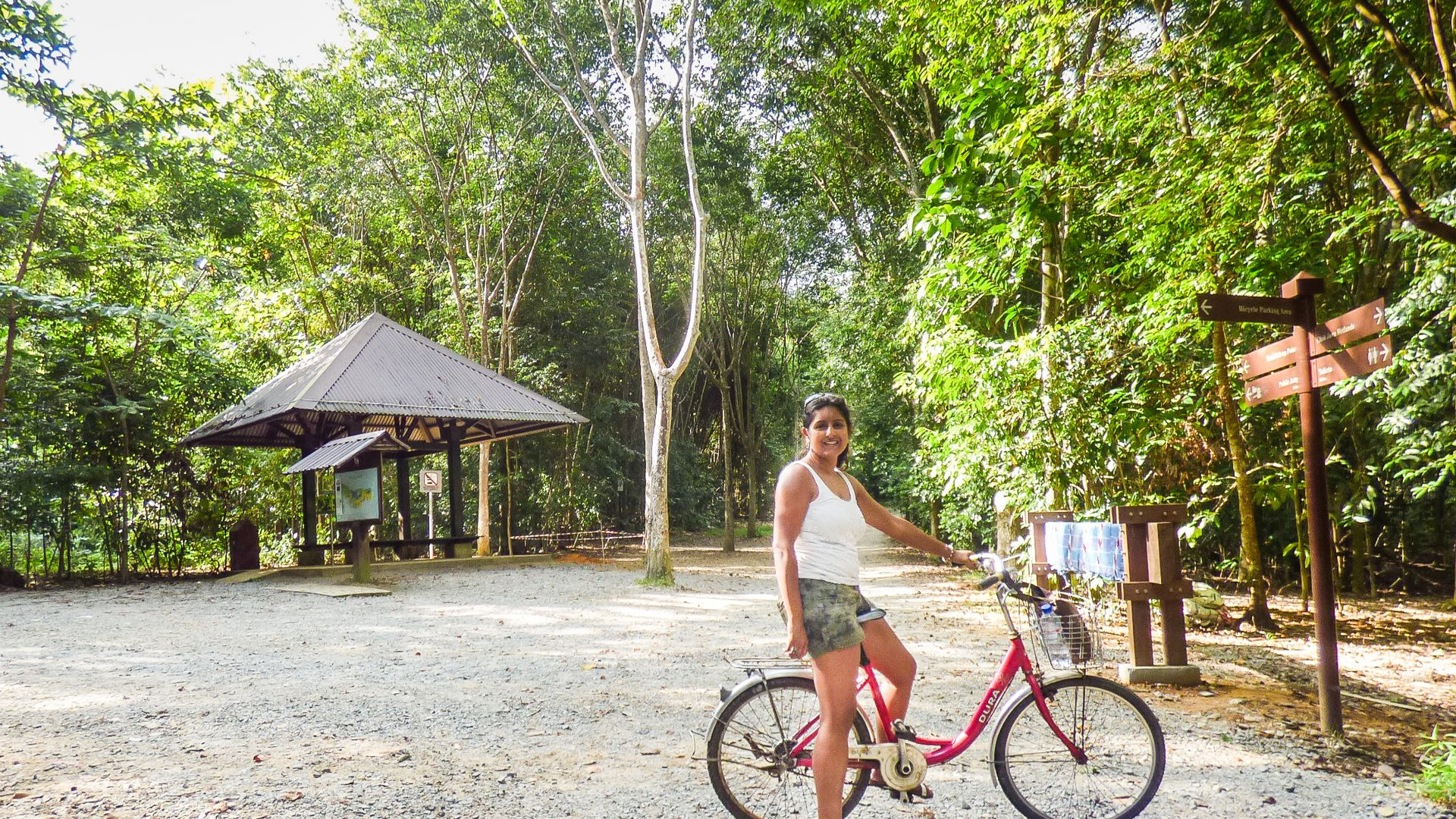 Writer Meera Dattani cycling around Pulau Ubin, an island off northeastern Singapore and the city-state's last 'kampung' or village.