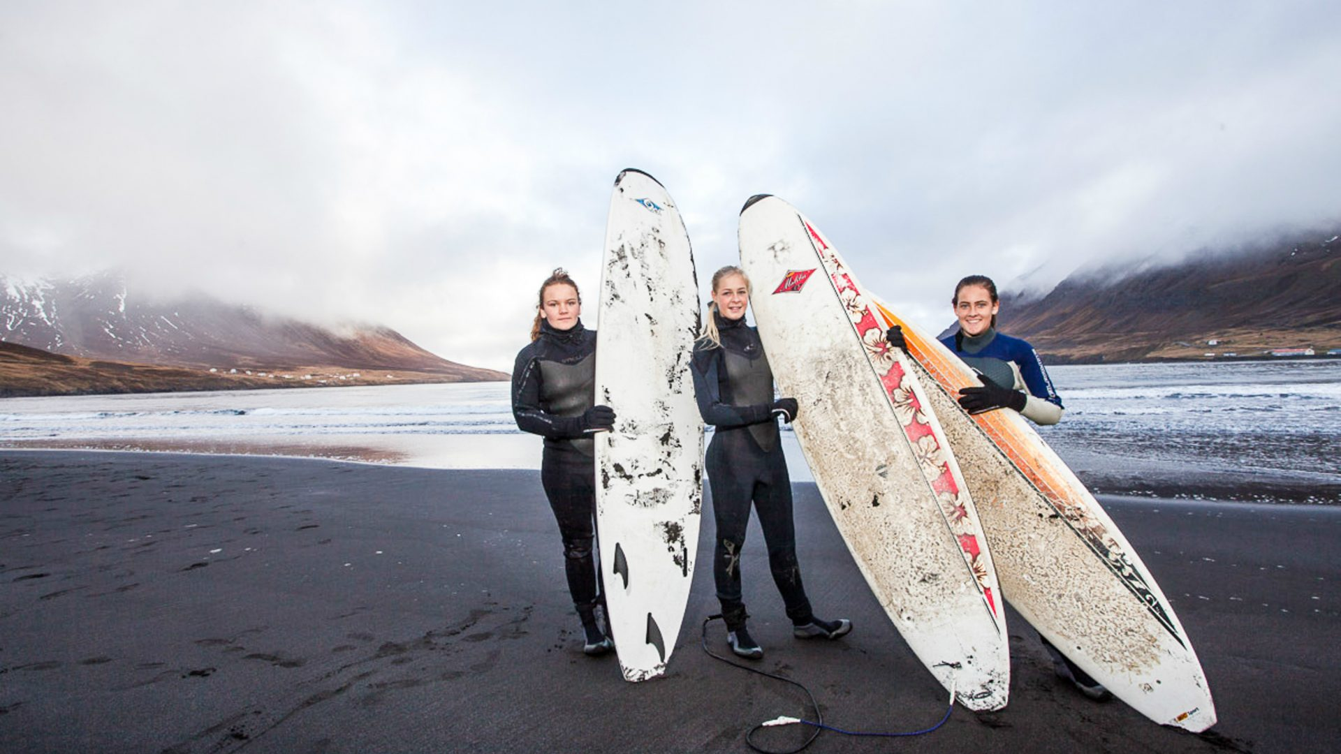 Surfers ready to brave Iceland's cold swells.