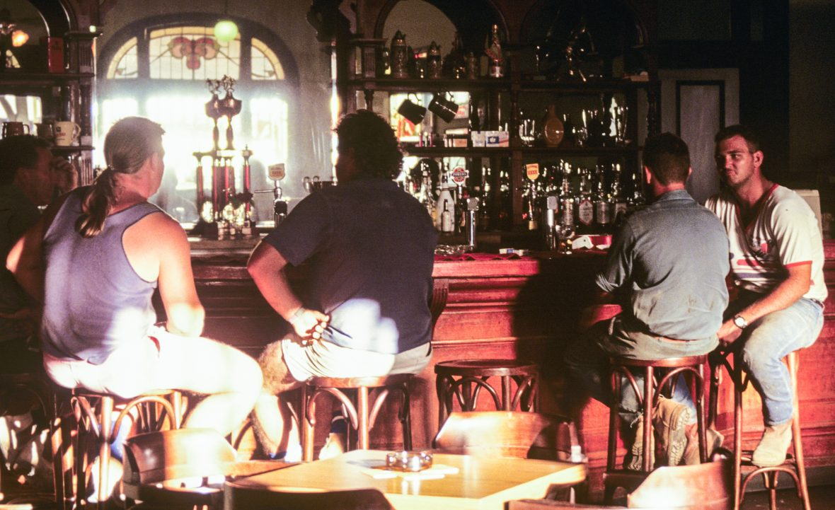 Men drink at a typical Australian pub