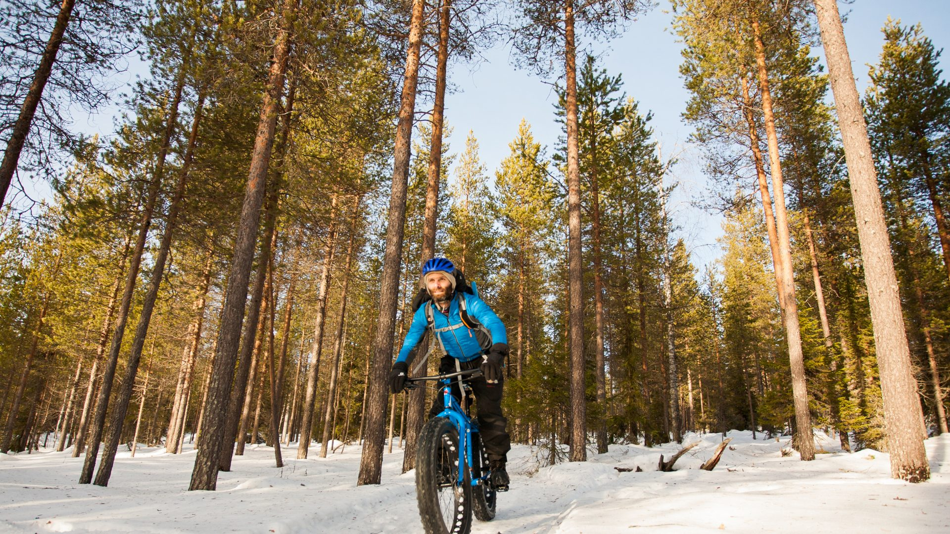 Travel writer James Stewart fat biking in Finland.