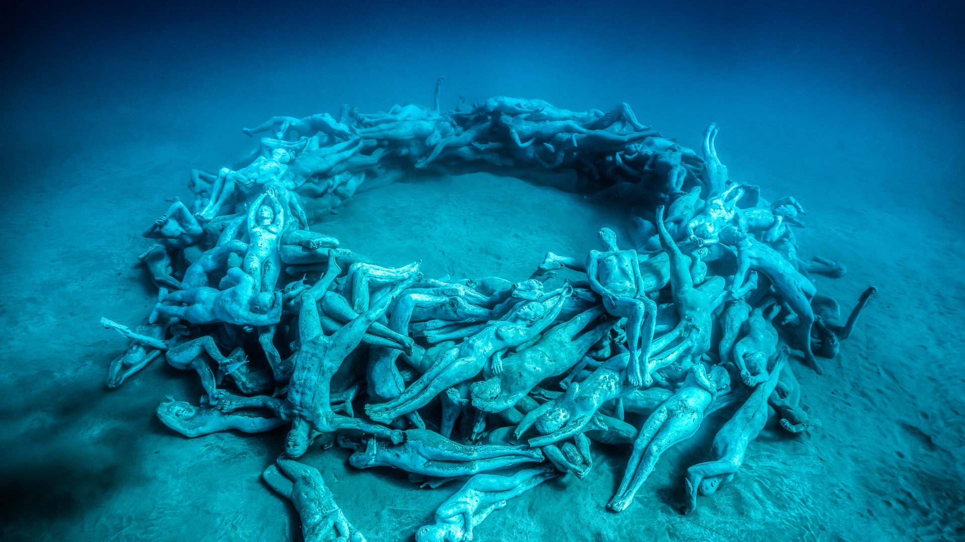 One of the pieces (The human gyre) in the underwater sculptural piece known as Vicissitudes by British artist Jason deCaires Taylor.