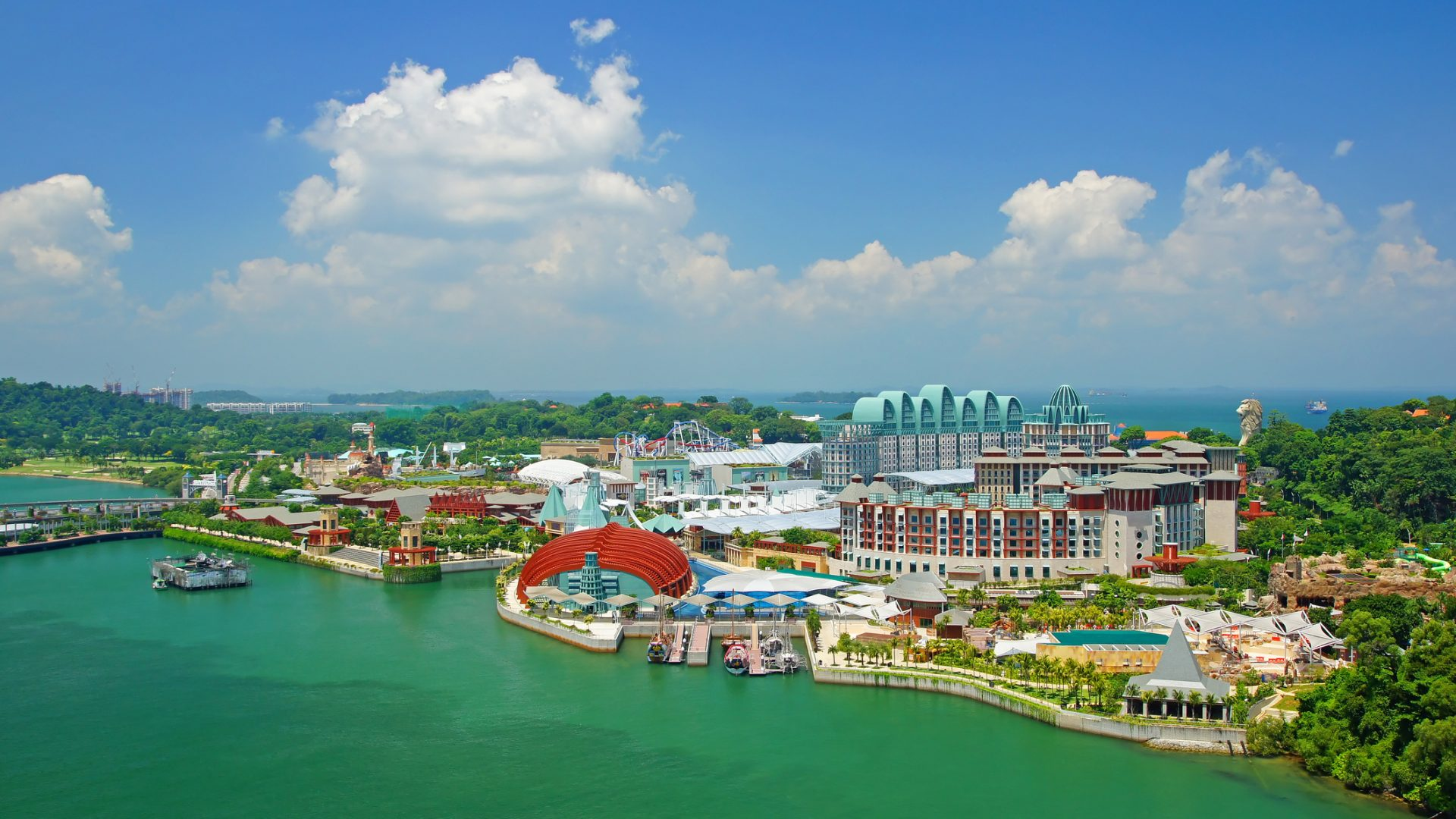 A view over Sentosa island in Singapore.