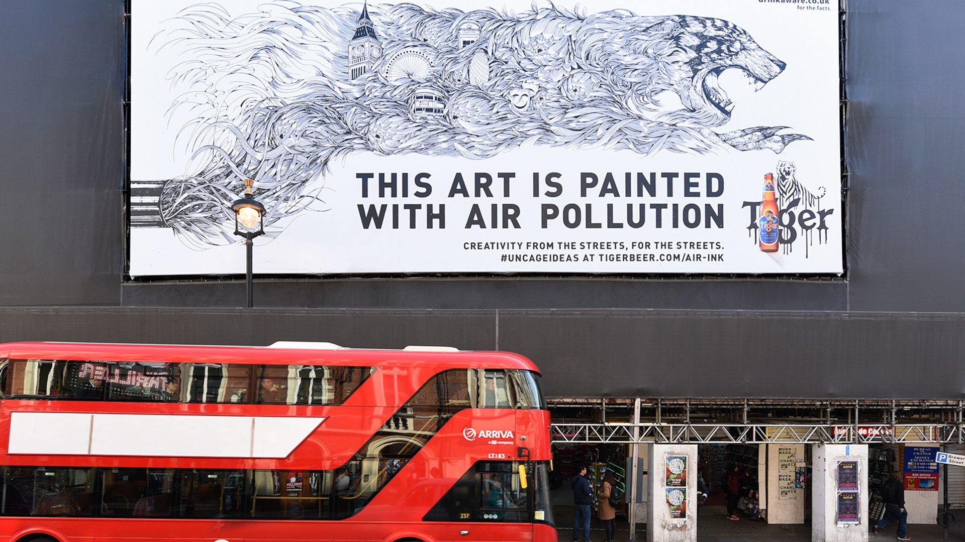 An art work painted using air pollution in London