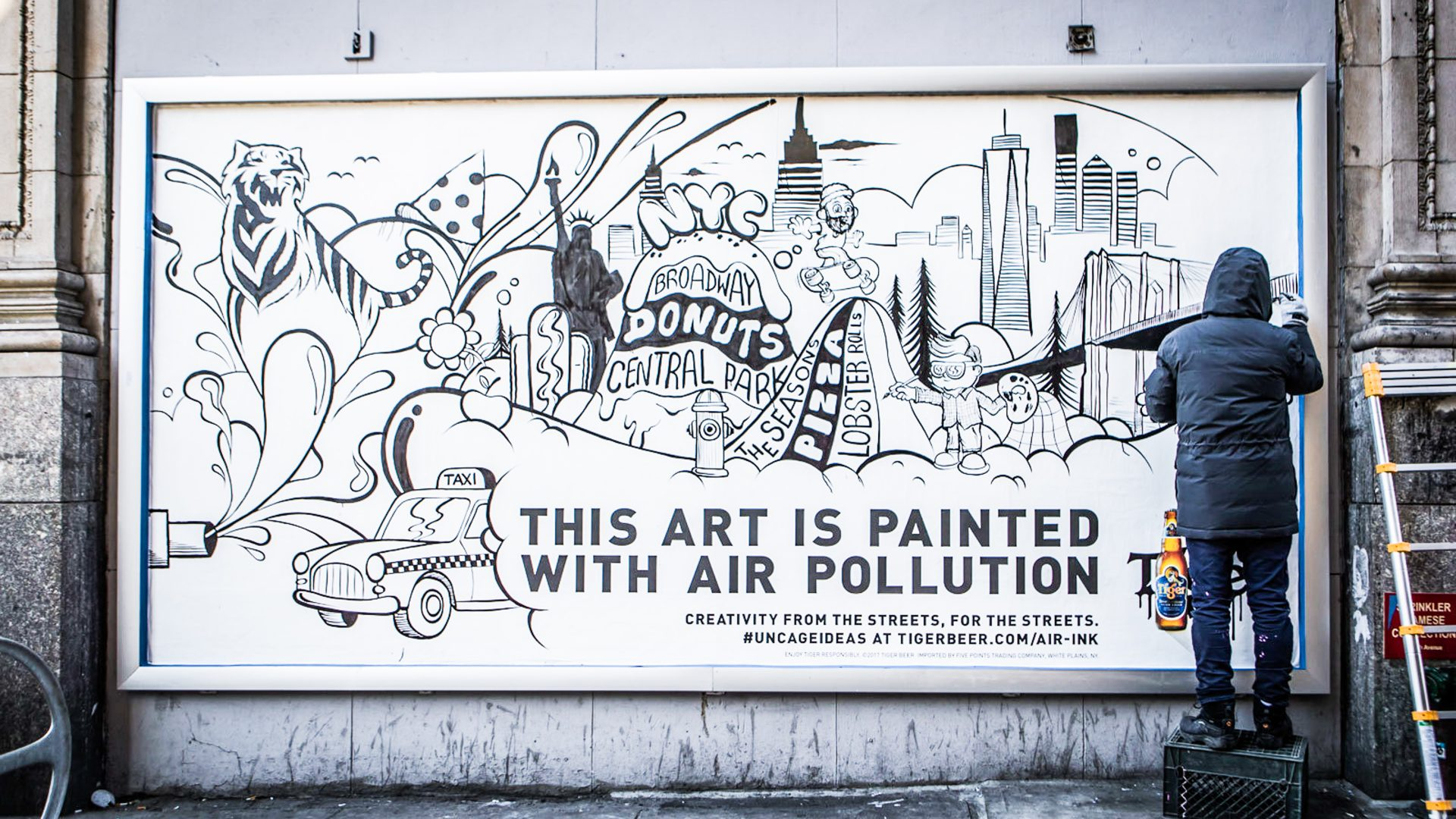 An art work painted using air pollution in New York
