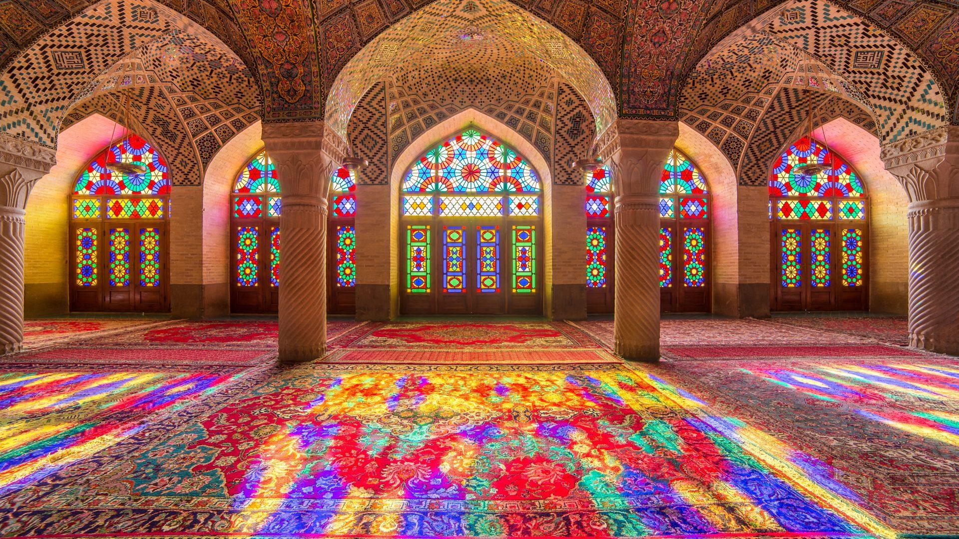 Nasir Al-Mulk Mosque in Shiraz, Iran, also known as Pink Mosque