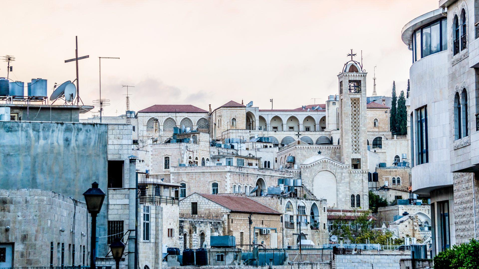 The city of Bethlehem, Palestine, at dusk.