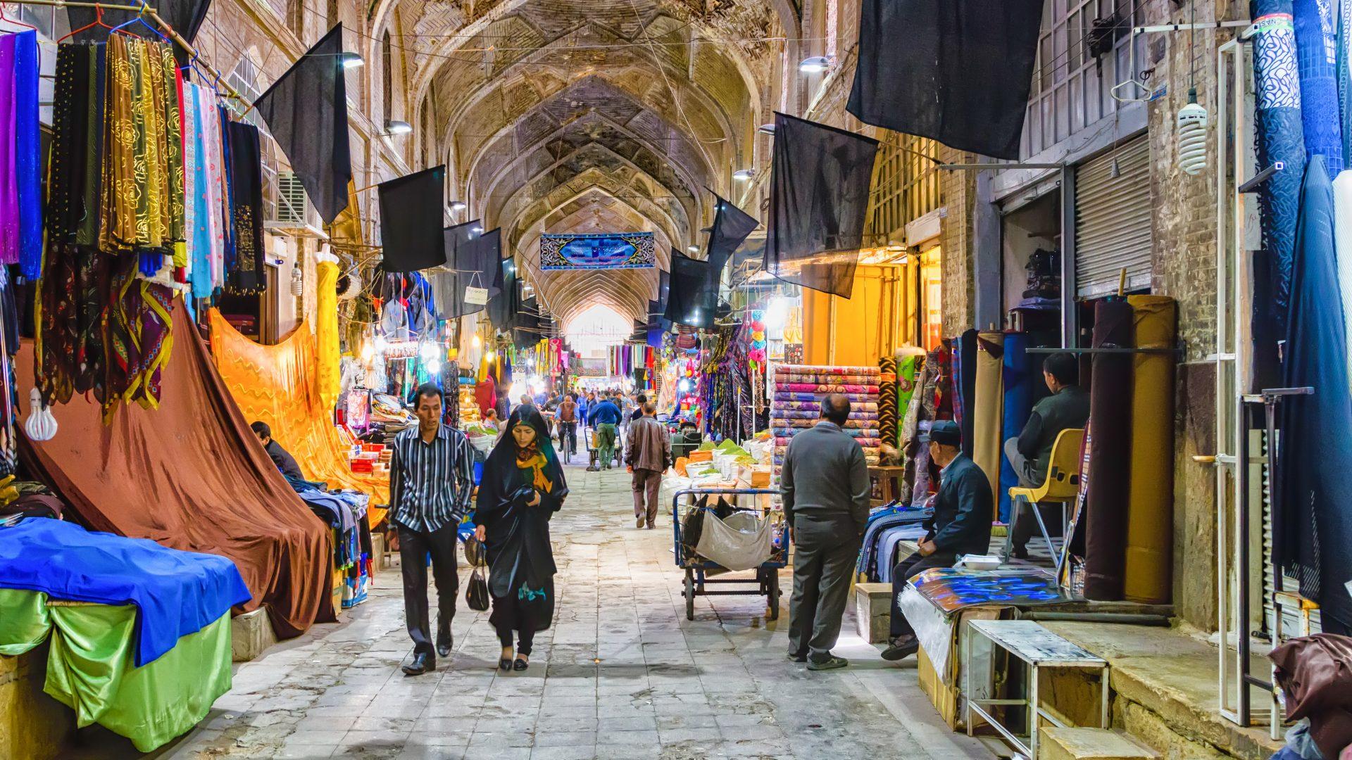 Traditional Iranian bazaar in Shiraz.