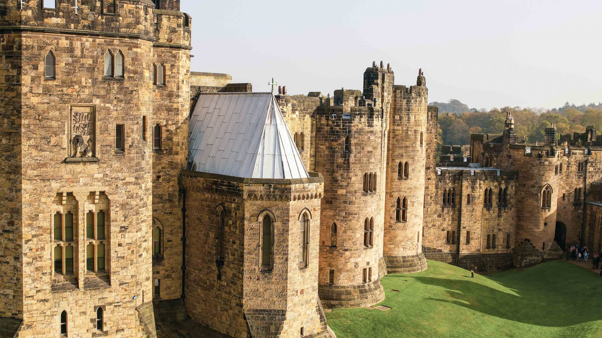 Alnwick Castle, Northumberland which features as Hogwarts in the Harry Potter films.