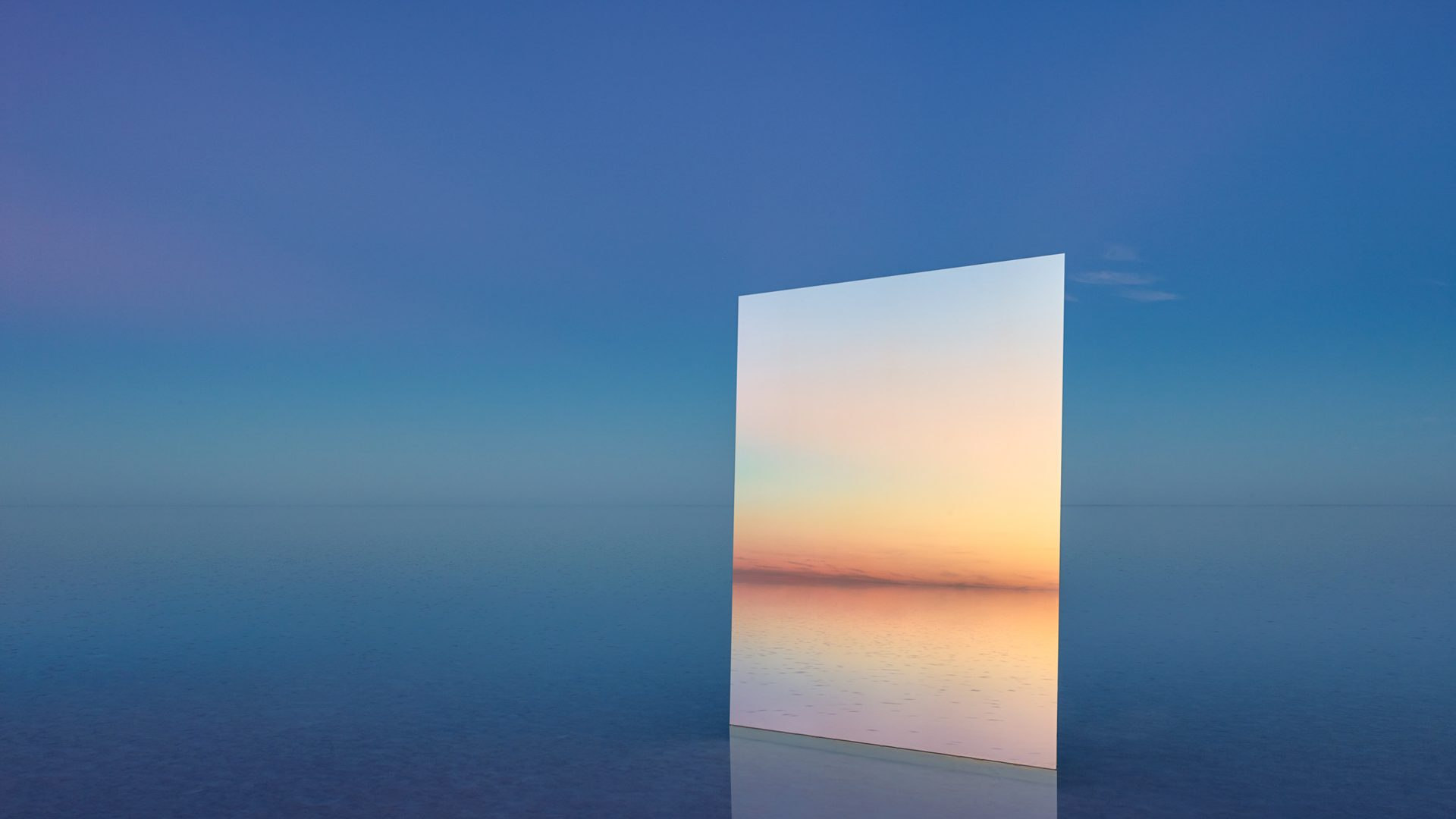 Large mirrors in the middle of Australia's shallow Lake Eyre.