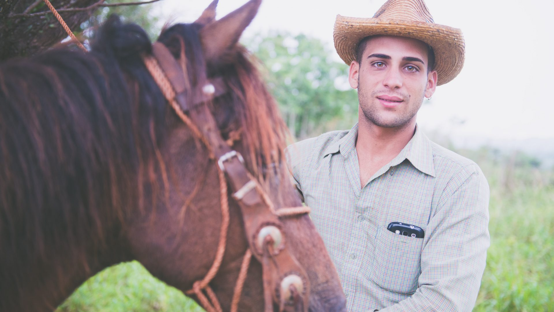 A cowboy and his horse in the Valle de los Ingenios, or Sugar Mill Valley.