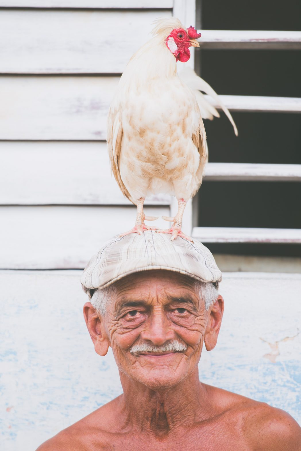 A man shows how his chicken can sit on his head, in the town of Trinidad, Cuba.