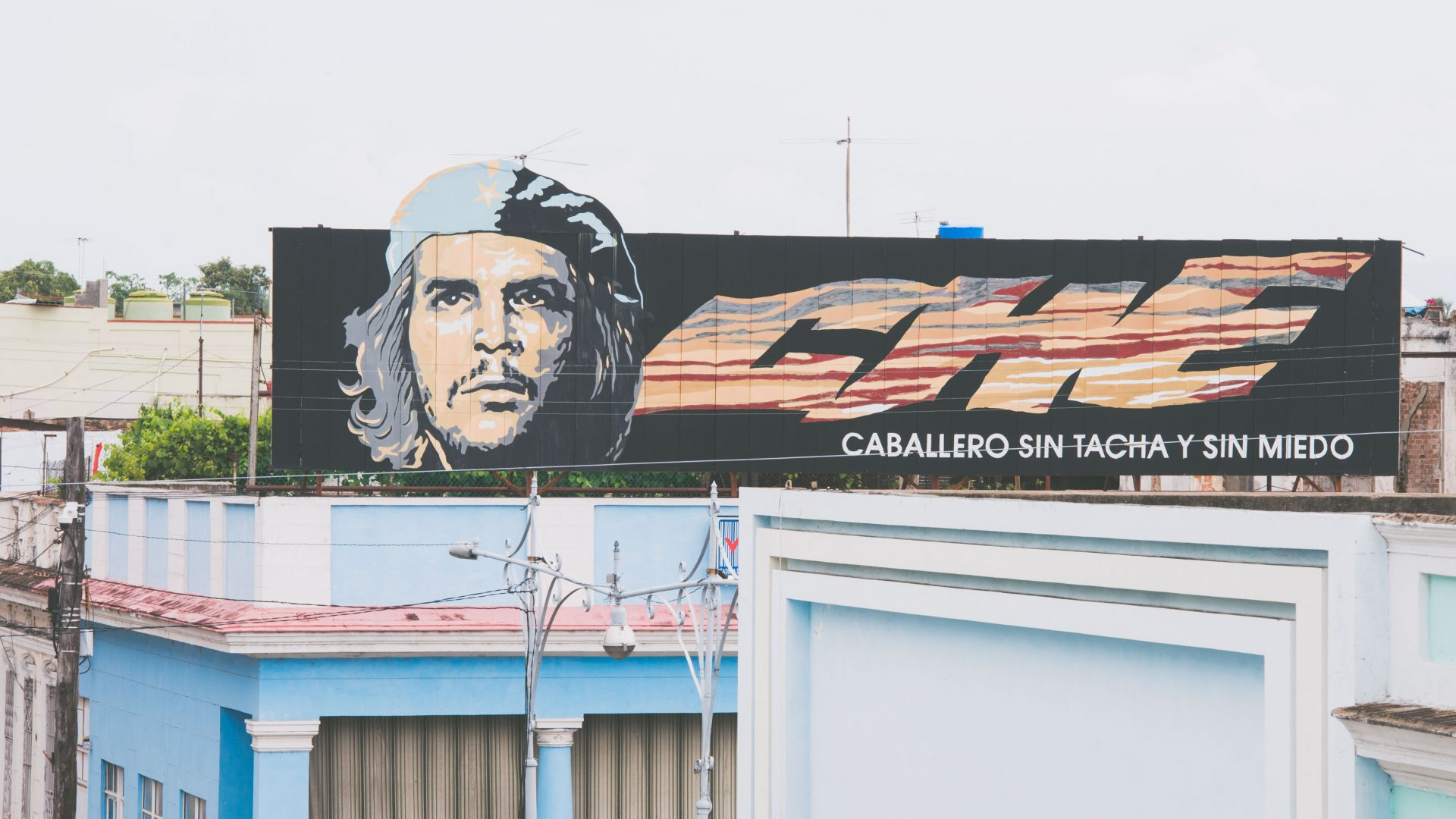 A sign showing the face of Che Guevara in Cuba.