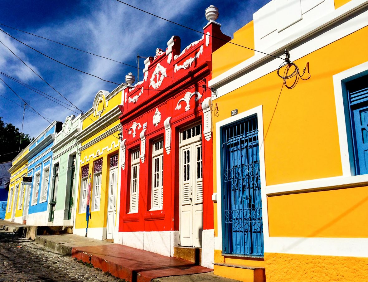 Colorful houses come across during their travels.
