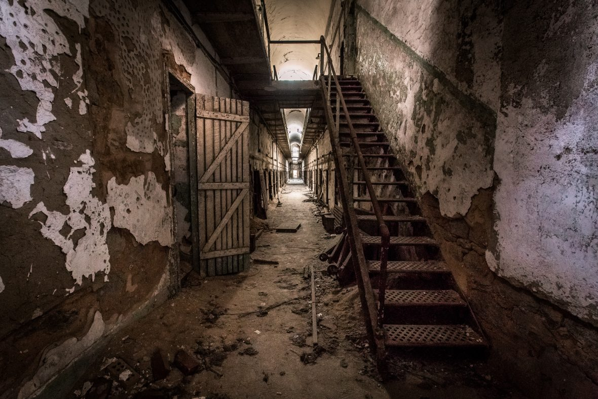 Prisoners would spend 23 hours a day in cells like these at the Eastern State Penitentiary.