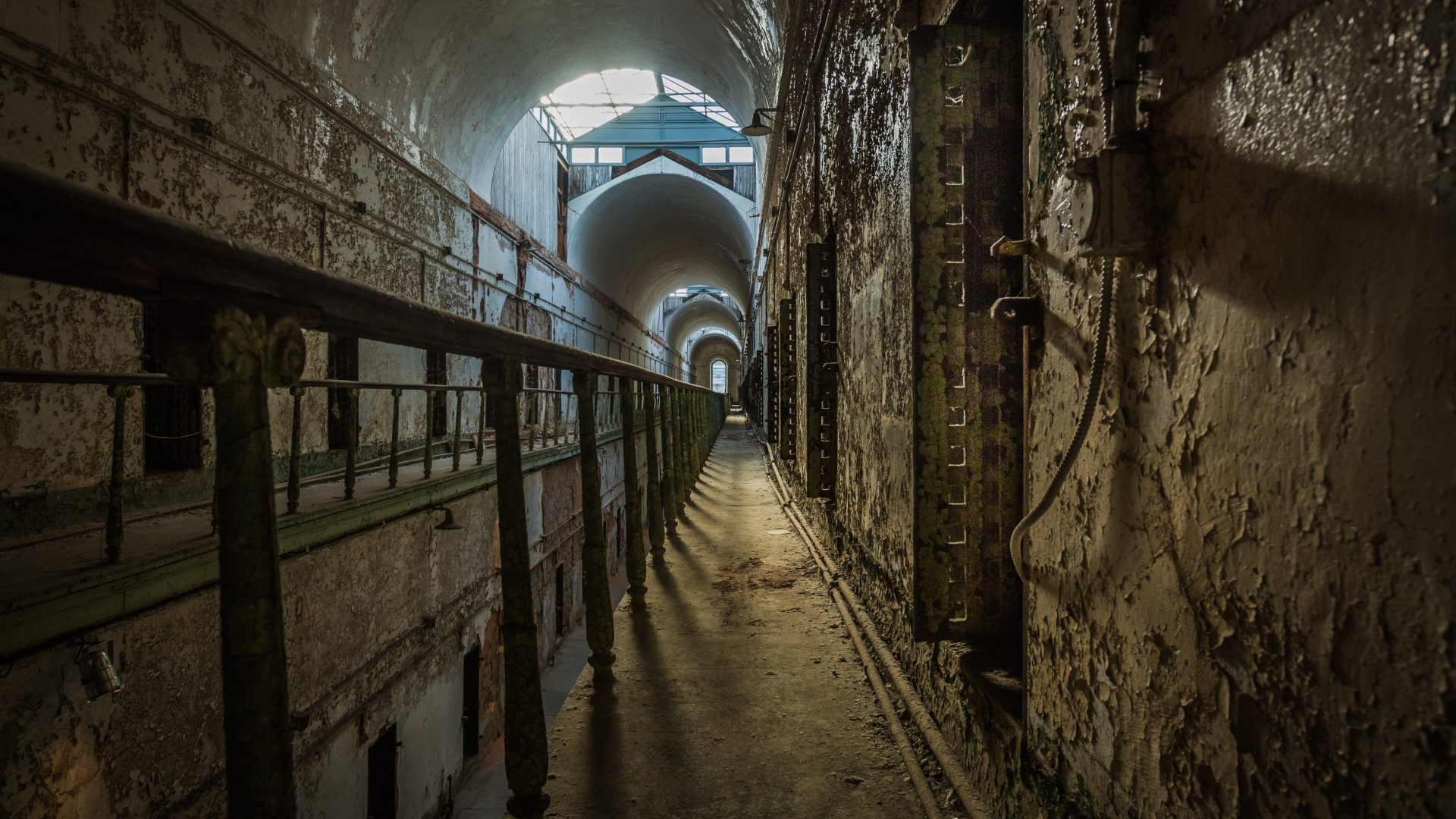 After 1836, cells started to be built with two stories, but no sunlight at Eastern State Penitentiary.