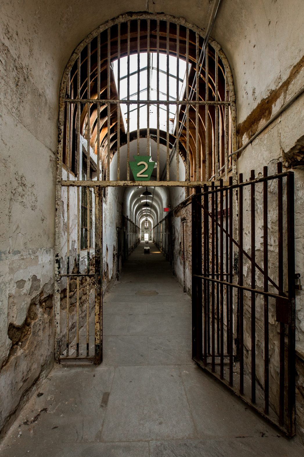 Cell block 2 at Eastern State Penitentiary where women were housed for nearly 100 years.