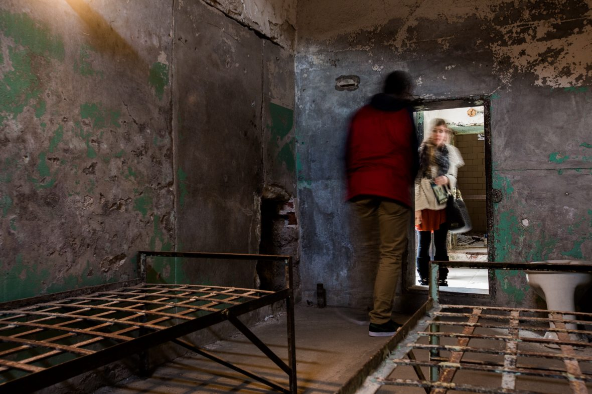 From this cell at Eastern State Penitentiary, a prisoner tried to escape by digging a tunnel 127 feet long.