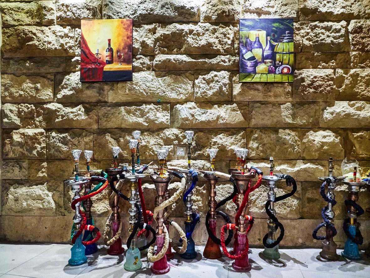 Hookah pipes in Bazari Nishtiman, Erbil, Iraq.