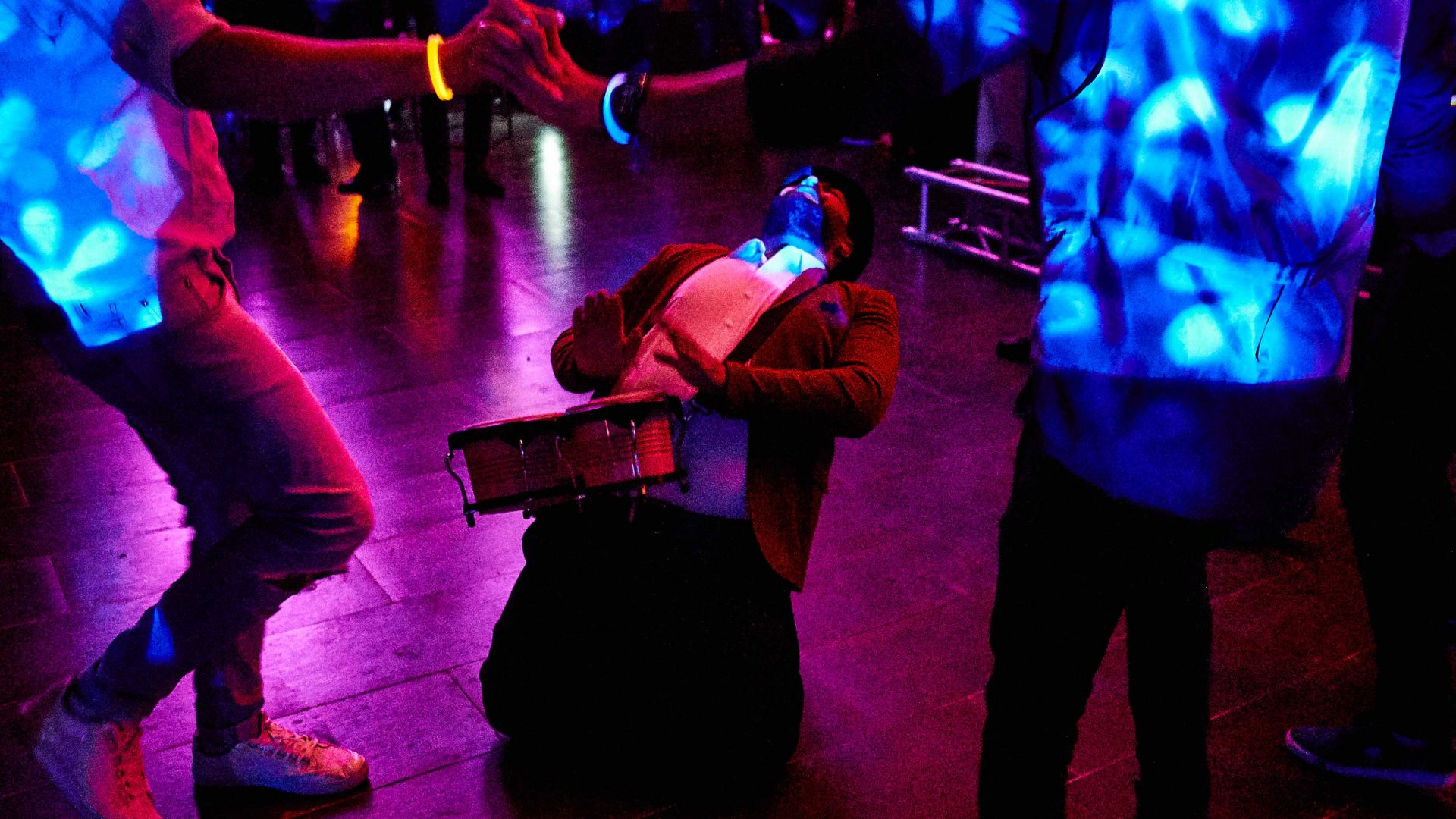 A drum player on a dance floor in Erbil, Iraq.