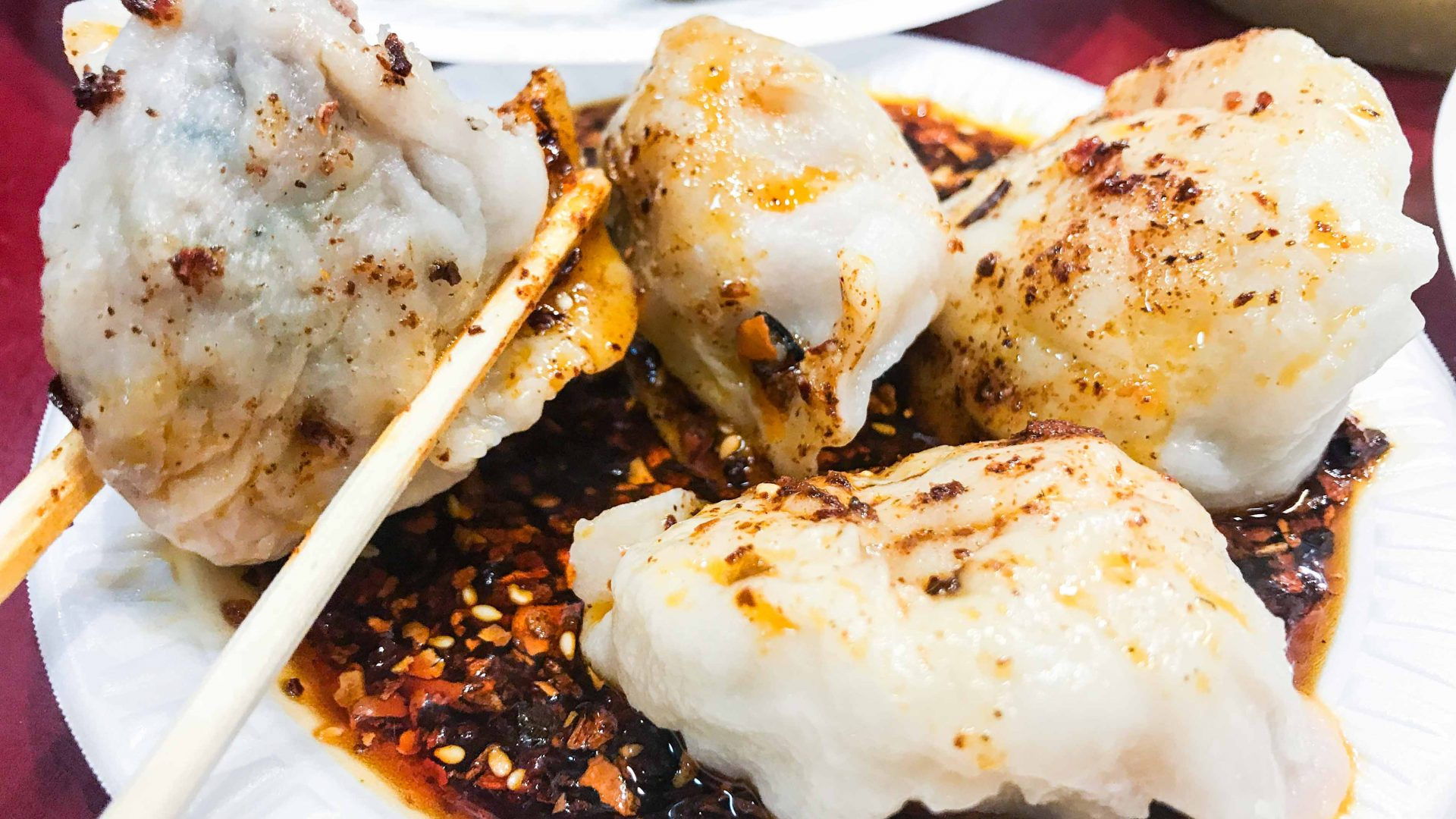 Lamb and fish dumplings at an eatery in Flushing, Queens.