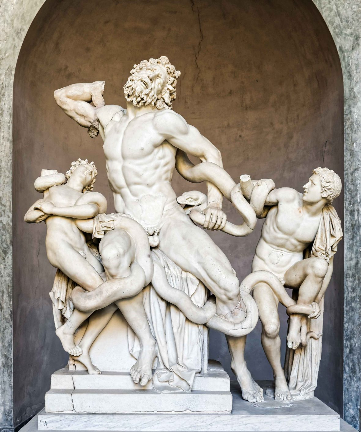 Ancient statue of Laocoon and his Sons in Vatican, Italy.