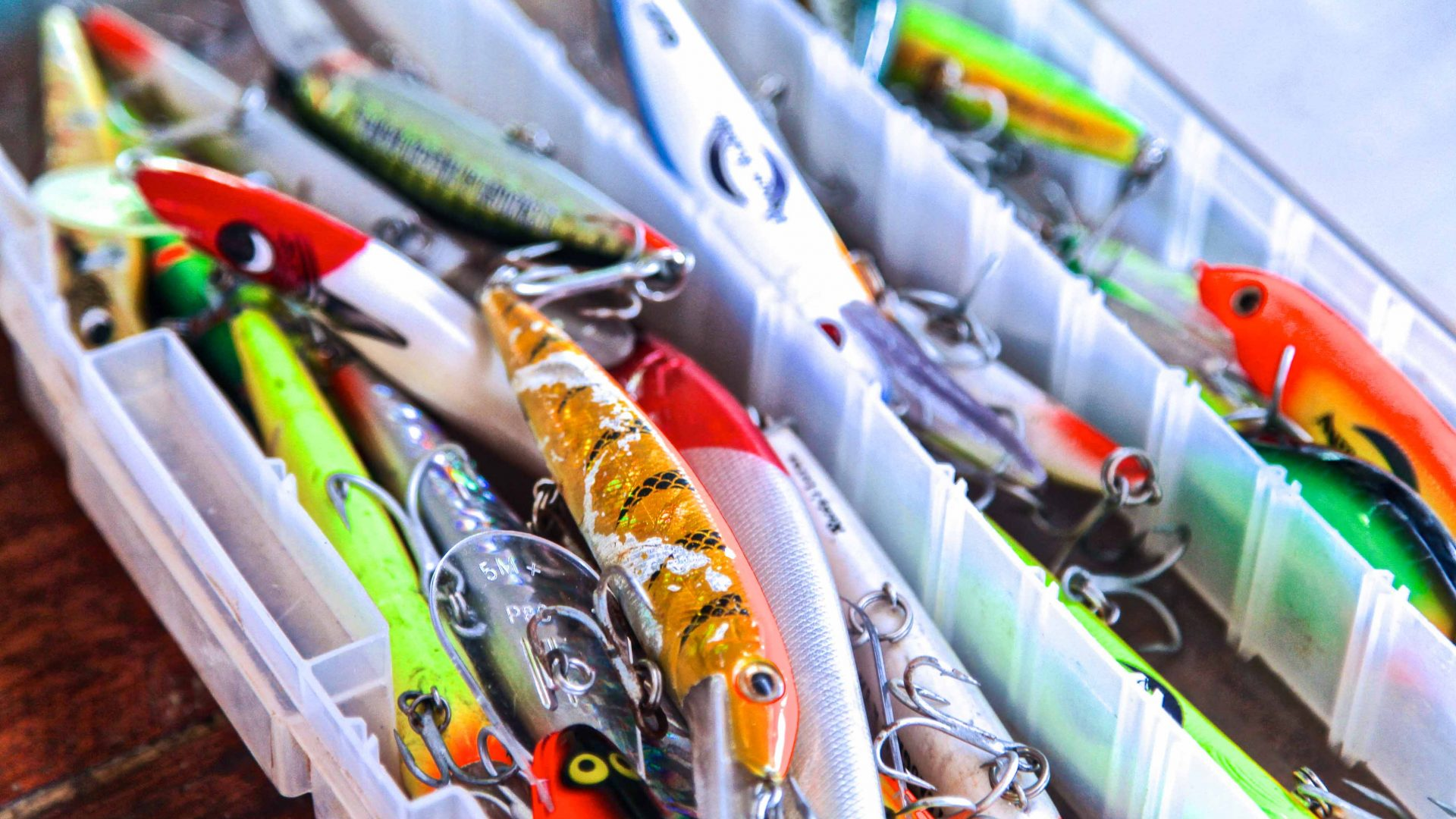 Fishing lures are ready to go at Lake Murray in PNG, known for the enormous black bass.
