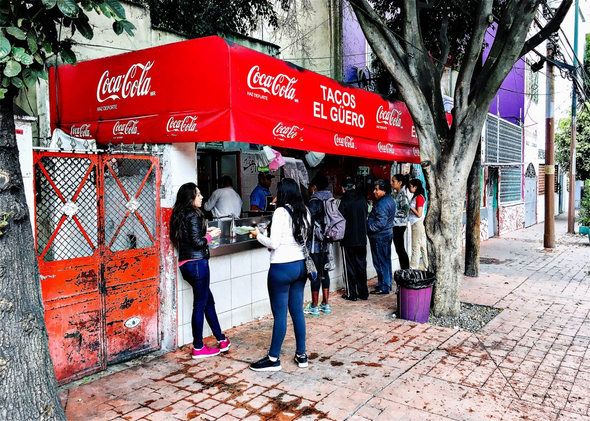 Crowds gather outside Tacos el Guero in Mexico City.