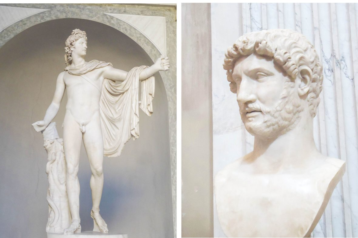 Apollo del Belvedere and l'imperatore Adriano, two works of art that get discussed during the Gay Vatican tour.