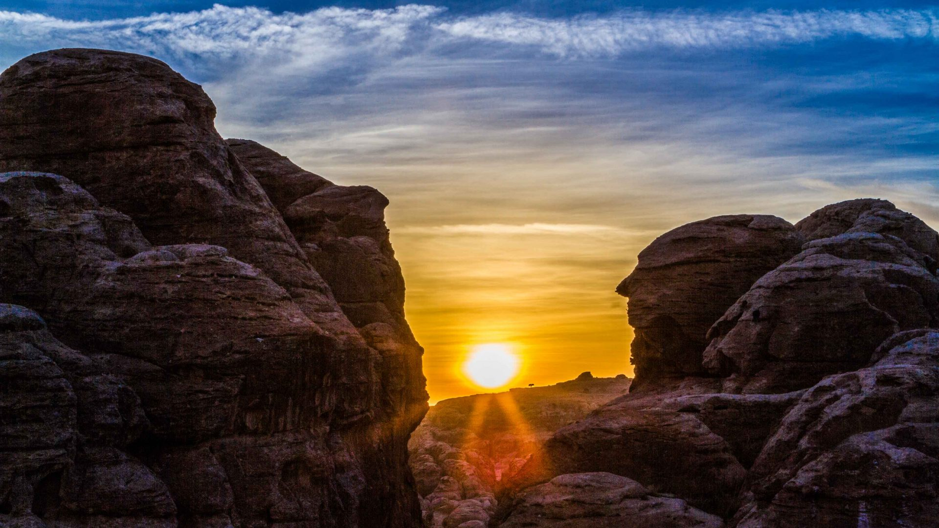 Sunset along the Jordan Trail from Little Petra (also known as Siq al-Barid) to Petra.